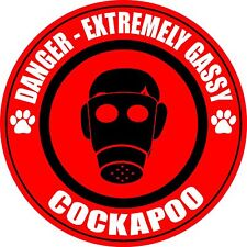 "Danger Extremely Gassy Cockapoo Farting 5"" Fart Stinky Dog Sticker"