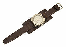 Brown Bikers  wide Leather Watch Band STRAP Buckle Punk Rock Skaters cuff