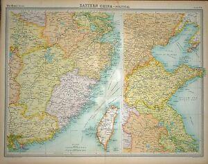 1920 Grande Mapa ~ Oriental China Político ~ Con Taiwan ~ 58.4cm x 45.7cm