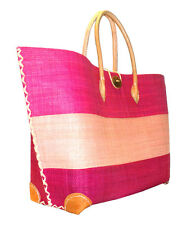 Raffia Pink & Leather Shopping French Market Basket Bag Large Moroccan