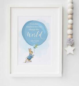Personalised New Baby Peter Rabbit Name Birth Nursery Print Christening UNFRAMED