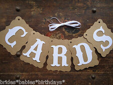 Bunting Banner Flags Garland CARDS Brown White Wedding Photo Birthday DIY R1