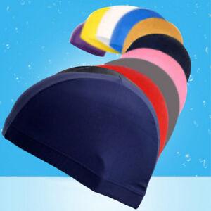 Unisex Adult Elastic Swimming Cap Men Lycra Bathing Hat Polyester Solid