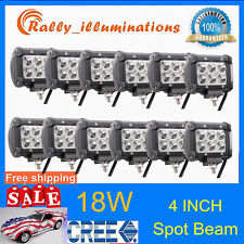 "12X 4"" 18W CREE LEDs Work Lights Bar Spot Beam Driving 4WD Truck SUV ATV UTE 4X4"