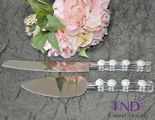 WEDDING CAKE KNIFE AND SERVER SET W/ FAUX CRYSTAL HANDLES EMBELLISHED W/ PEARLS