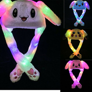 LED Rabbit Bunny Hat Cute Animals Ear Flap Moving Jumping Cap Gifts Uk