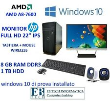 "PC ASSEMBLATO COMPLETO AMD A8-7600 MONITOR HP 22"" IPS 8GB RAM 1TB HD WINDOWS 10"