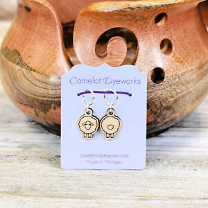Set of 2 Stitch Markers, Sheep Front and Back, Laser Engraved Wood