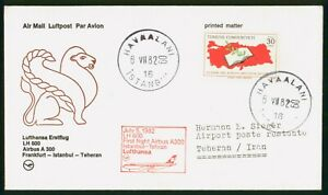 MayfairStamps Turkey 1982 Istanbul to Middle East LH 600 Lufthansa Airbus A 300