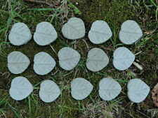 "Natural Cement Leaf Lot 15pc Fairy 1 1/2"" Step Concrete Garden Accent Craft"