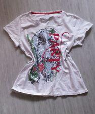Schönes Shirt weiss bunter Aufdruck stretch Longshirt Tunika T-Shirt 44 46 L
