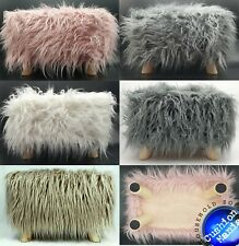 Stool Pouffe Shaggy Faux Fur Foot Bench Ottoman Modern Padded Wooden Rectangle