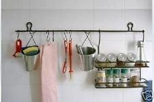 Wrought Iron Kitchen Rail Rack Hooks Buckets Adjustable