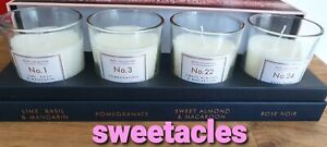 Aldi Hotel Collection Votive Candle Set. Macaroon, Lime/Basil, Pomegranate, Rose