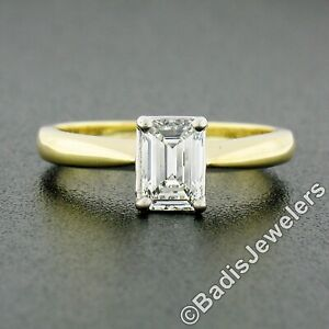 18k Gold & Platinum GIA Elongated Emerald Cut Diamond Solitaire Engagement Ring