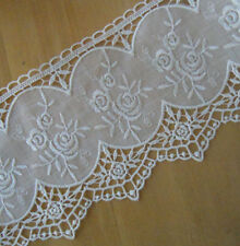 4.5'' Wide Ivory Vintage Cotton Tulle&Embroidered Rayon Venise Flower Lace b0164