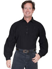 NEW SCULLY Men's Cowboy Western Shirt Black Side Pocket Cotton LARGE RW229