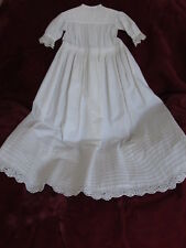 "Vintage White Cotton Eyelet Pintucking Doll Or Baby Christening Gown 38"" L"