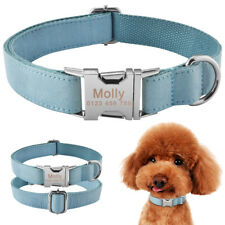 Small Large Nylon Personalised Dog Collar Custom Engraved Pet Name ID Puppy XS-L