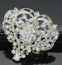 Heart Flower Austrian Crystal Pin Clear Silver Tone Bride Brooch Wedding Love