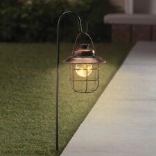 Solar Powered Stylish Copper LED Garden Pathway Lantern w/ Shepherds Hook