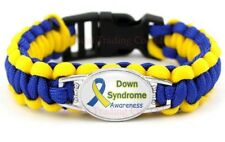 Down Syndrome Awareness Paracord Bracelet New Blue Yellow Show Support US Seller