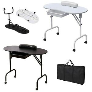 Portable Foldable Manicure Nail Table Beauty Salon Mobile Technician Work Desk