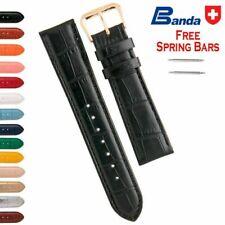Banda Premium Grade Calfskin Alligator Grain Leather Watch Bands, Sizes 6 - 24mm
