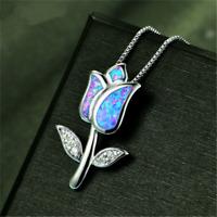 Women 925 Silver Jewelry Flower Blue Fire Opal Charm Pendant Necklace Chain JP