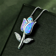 925 Silver Jewelry Flower Blue Fire Opal Charm Pendant Chain Necklace Jewellery