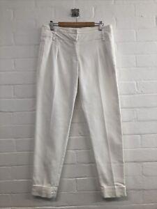 Ladies Zara Ivory Slim Leg Cigarette Slim Leg Trousers Size Medium Fit 10