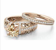 Cz Wedding/Engagement Ring Set #971 Vintage Infinity Rose Gold Round Cut