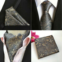 Mens Dark Gray Paisley Flower Silk Tie Cravat Ascot Pocket Square Hanky Set Lot