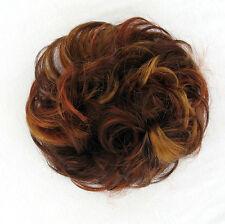 chouchou chignon cheveux châtain cuivré méché blond clair et rouge ref 17 33h130