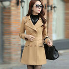 Women's Double Breasted Wool Trench Coat Slim Long Jacket Overcoat Outwear SALE