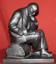 Vintage Russian Metal Art Work Sculpture Lenin Signed