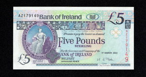 RARE 2003 BANK OF IRELAND 5 FIVE POUNDS BANKNOTE BELFAST NORTHERN IRISH UNC?