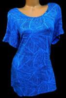 Apt.9 blue black abstract print scoop neck spandex stretch women's top 0X , XL