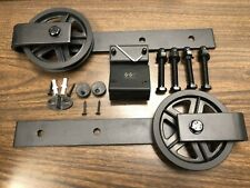 Winsoon Sliding Wood Barn Door Hardware Roller Set Hardware (Big Black Wheel)