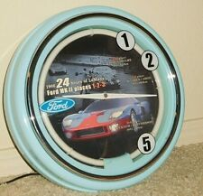 1966 24 Hours Le Mans Ford Gt Mk Ii Neon Clock Wall Race Mclaren Slot Car Light