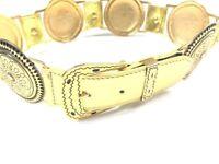 Magid Womens S Belt Vintage 70s 80s Gold Wide Metal Medallion Gaudy WOW
