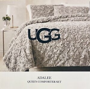 NWT UGG Adalee Queen Comforter 3-Piece Set Luxurious Glamour-Faux Fur Seal/Gray