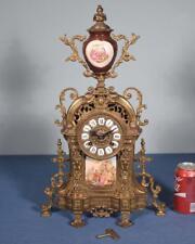 *Vintage Bronze Mantel Clock with Hermle/FHS Clockworks and Porcelain Insert