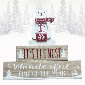 Christmas Plaque Polar Bear Most Woderful Time Of The Year Wooden Xmas Sign