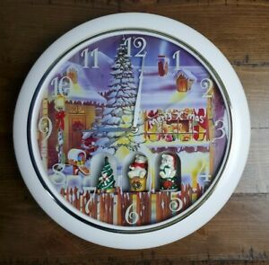 "Christmas Bears Tree Round Wall Clock 12"" Holiday"