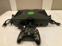 Microsoft Xbox Original Game Console w/ Cables and Controller Tested & Working