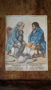 1798 SATIRICAL PRINT - ROBERT DIGHTON - MEMBERS OF THE WHIG CLUB