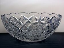 BOHEMIA CRYSTAL CUT GLASS FLOWER & CRISS CROSS LARGE FRUIT SALAD SERVING BOWL