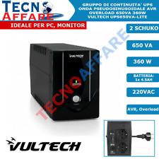 Gruppo di Continuità UPS Offline 650VA 360W per PC Telecamere Vultech