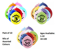 "10 Pack Air Filled Latex Balloons All Ages 1-100 Birthday Party Decorations (9"")"